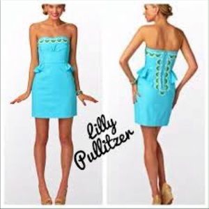 Lilly Pulitzer Turquoise peplum embroidered Dress